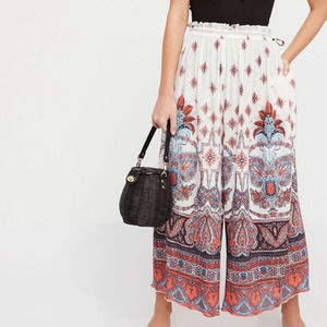 Free People Gold Dust Printed Wide Leg Trousers XS